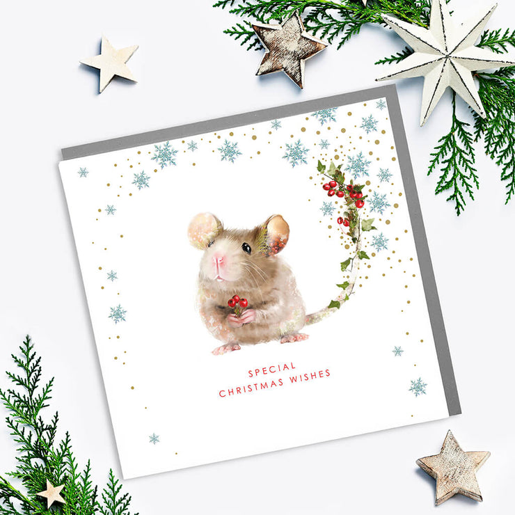 Mouse Special Christmas Wishes Card - Lola Design Ltd