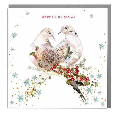 Turtle Doves Happy Christmas Card - Lola Design Ltd