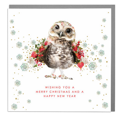 Tiny Owl Merry Christmas Card - Lola Design Ltd