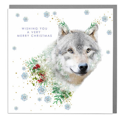 Wolf Merry Christmas Card - Lola Design Ltd