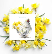 Brahma Hen Easter Wishes Card - Lola Design Ltd