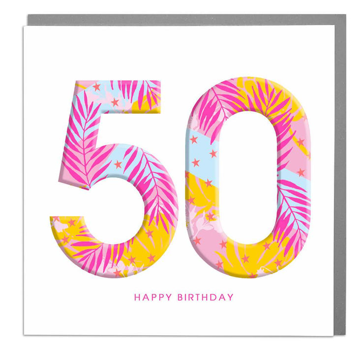 50th Happy Birthday Card - Lola Design Ltd