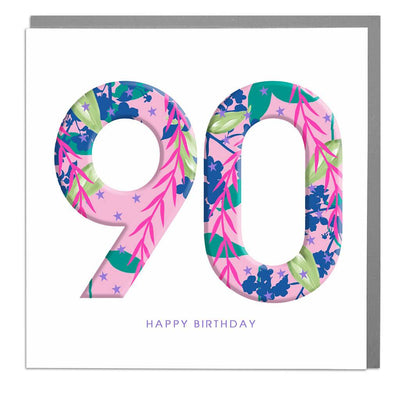 90th Happy Birthday Card - Lola Design Ltd