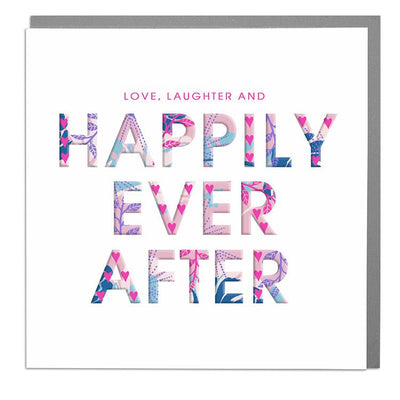 Love, Laughter and Happily Ever After Wedding Day Card - Lola Design Ltd
