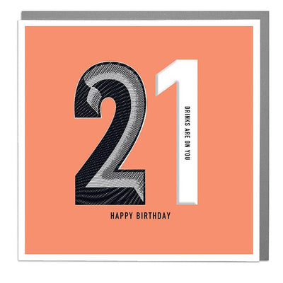 21st Happy Birthday Card - Lola Design Ltd