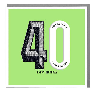 40th Happy Birthday Card - Lola Design Ltd