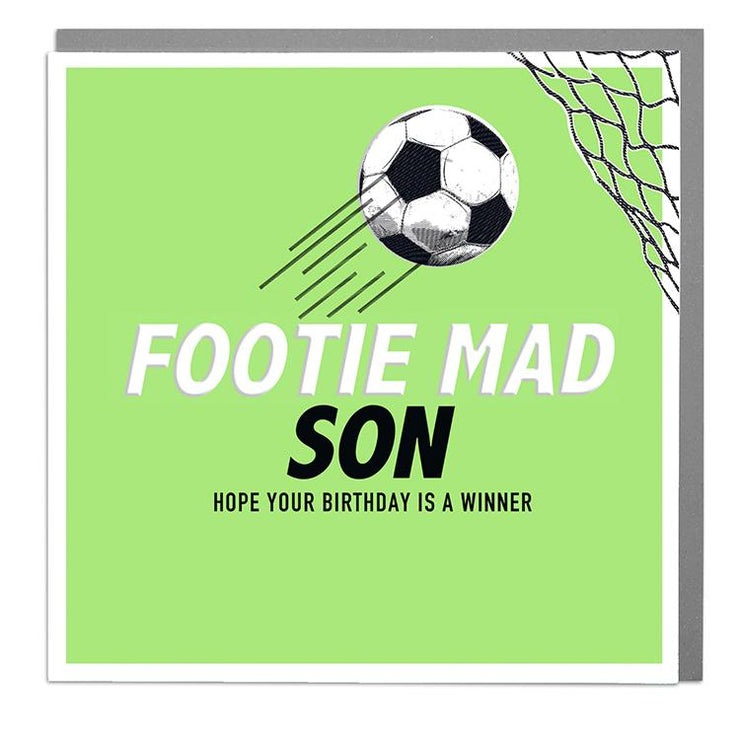 Footie Mad Son Birthday Card - Lola Design Ltd