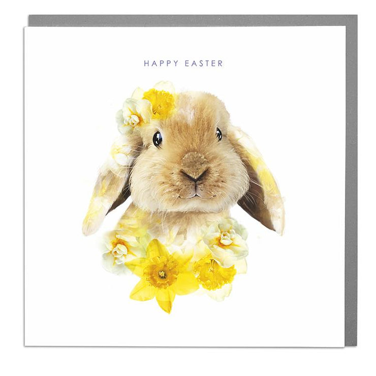 Lop Eared Bunny Happy Easter Card - Lola Design Ltd