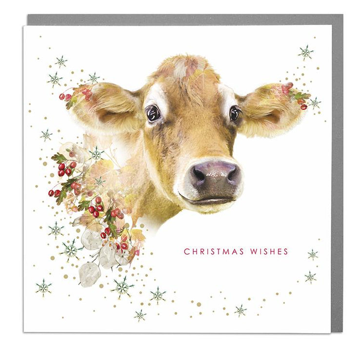 Jersey Cow Christmas Card - Lola Design Ltd