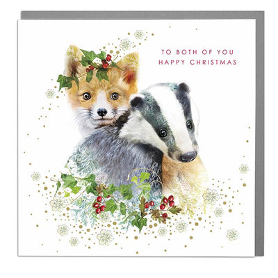 Fox & Badger To Both Of You Christmas Card - Lola Design Ltd