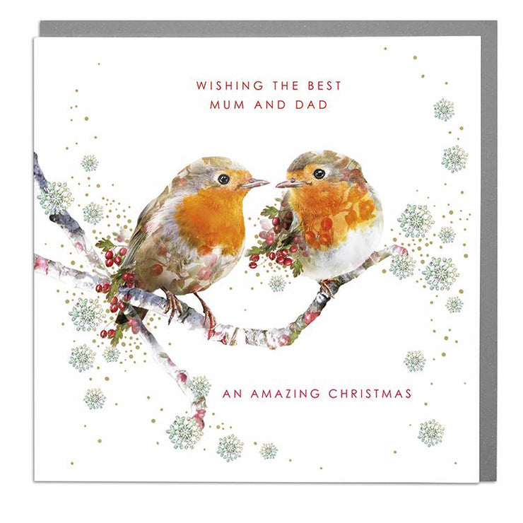 Two Robins To Mum & Dad Christmas Card - Lola Design Ltd
