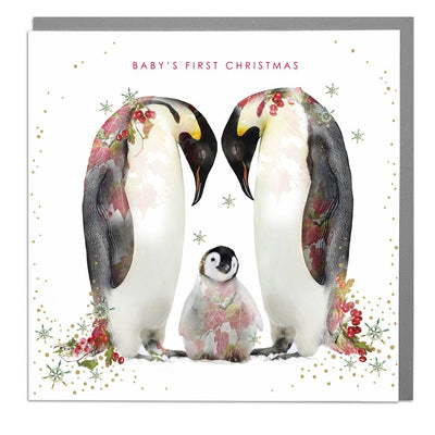 Penguins Baby's First Christmas Card - Lola Design Ltd