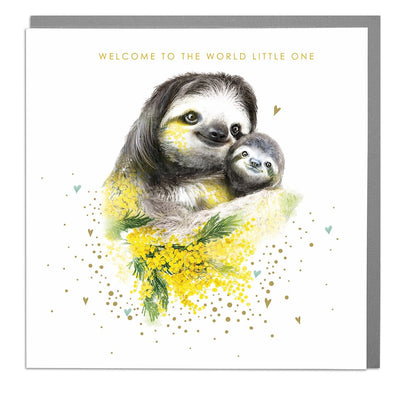 Sloths Welcome To The World New Baby Card - Lola Design Ltd