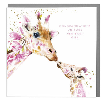 Giraffe New Baby Girl Card - Lola Design Ltd
