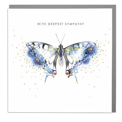 Butterfly With Deepest Sympathy Card - Lola Design Ltd