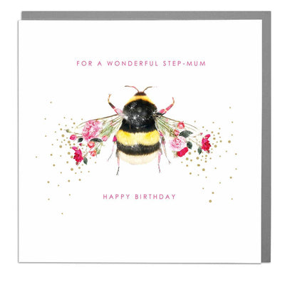 Bee Step-Mum Birthday Card - Lola Design Ltd