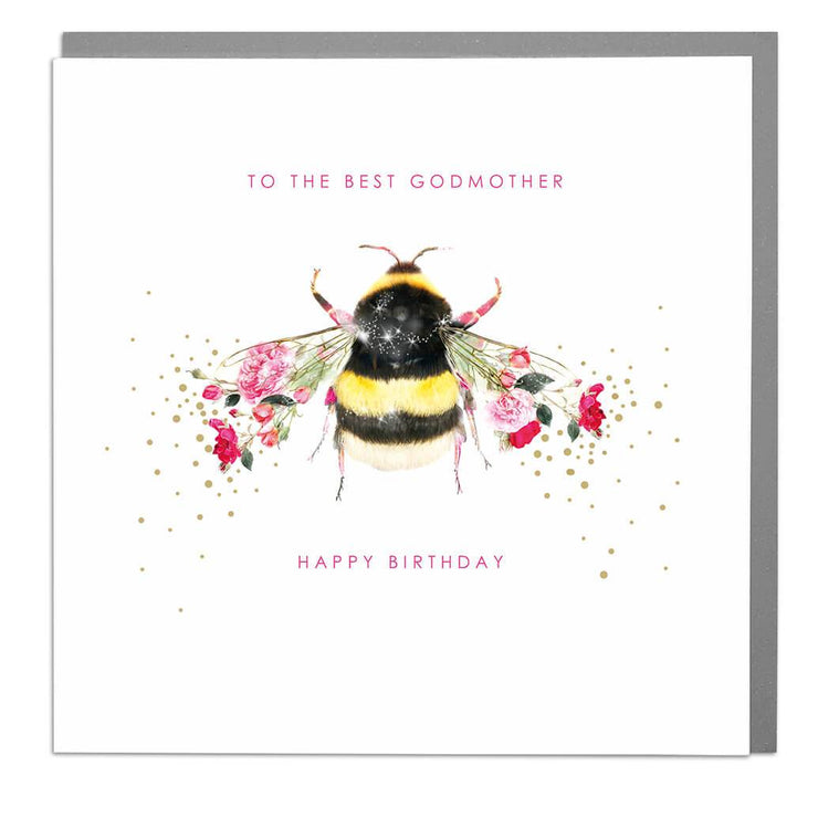 Bee God Mother Birthday Card - Lola Design Ltd