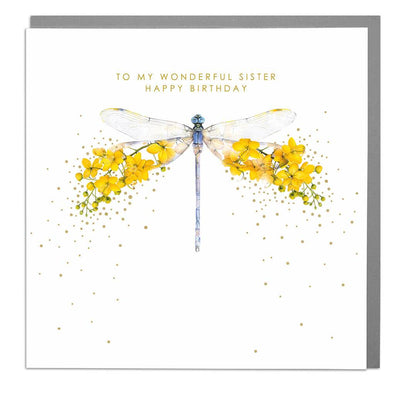 Dragonfly Sister Birthday Card - Lola Design Ltd