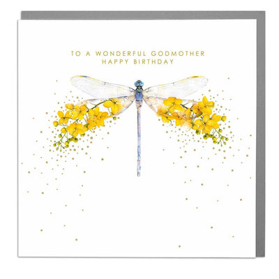 Dragonfly God Mother Birthday Card - Lola Design Ltd