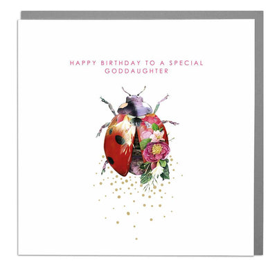 Ladybird God Daughter Birthday Card - Lola Design Ltd