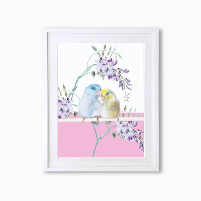 Budgies Art Print - Lola Design Ltd