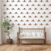 Single Bee White Wallpaper - Lola Design Ltd