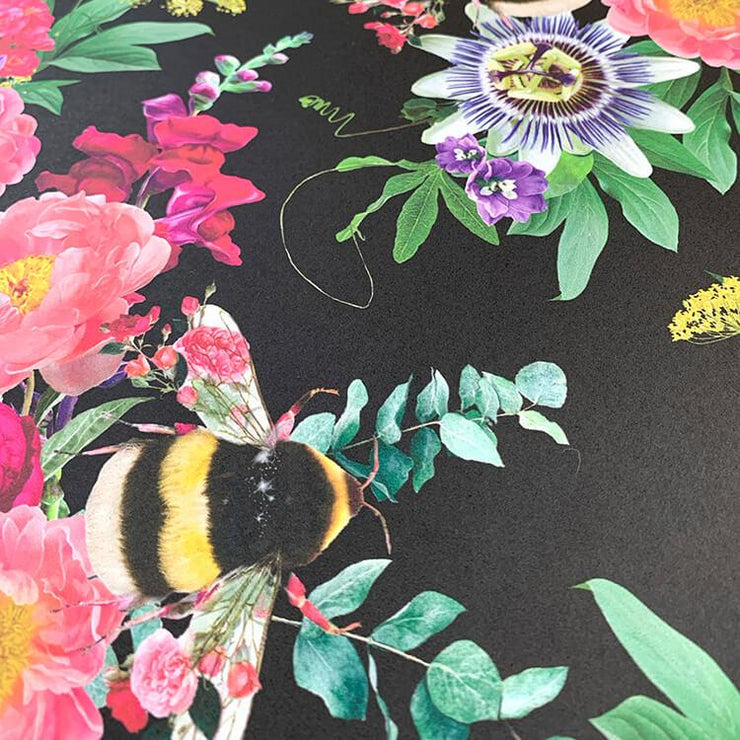 Mixed Bee Black Wallpaper - Lola Design Ltd