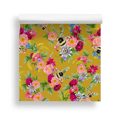 Mixed Bee Mustard Wallpaper - Lola Design Ltd