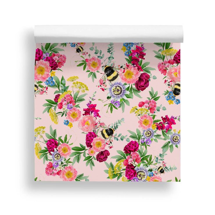 Mixed Bee Slightly Pink Wallpaper - Lola Design Ltd