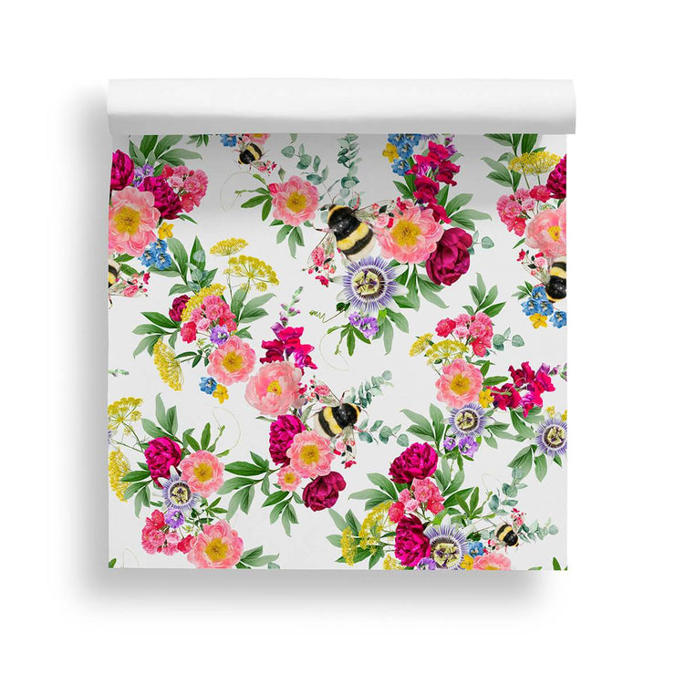 Mixed Bee White Wallpaper - Lola Design Ltd