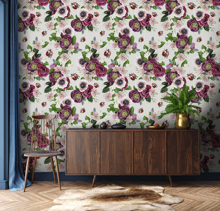 Mixed Ladybird Stone Wallpaper - Lola Design Ltd