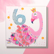 Flamingo Age 6 Birthday Card - Lola Design Ltd