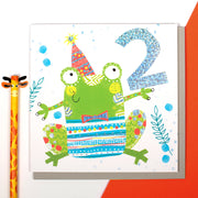 Frog Age 2 Birthday Card - Lola Design Ltd