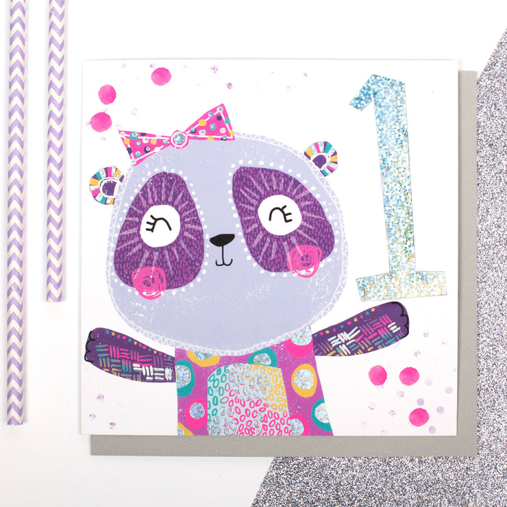 Panda Age 1 Birthday Card - Lola Design Ltd