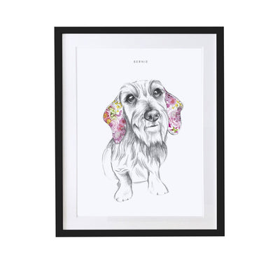 Wire Haired Dachshund Personalised Pet Portrait - Lola Design Ltd
