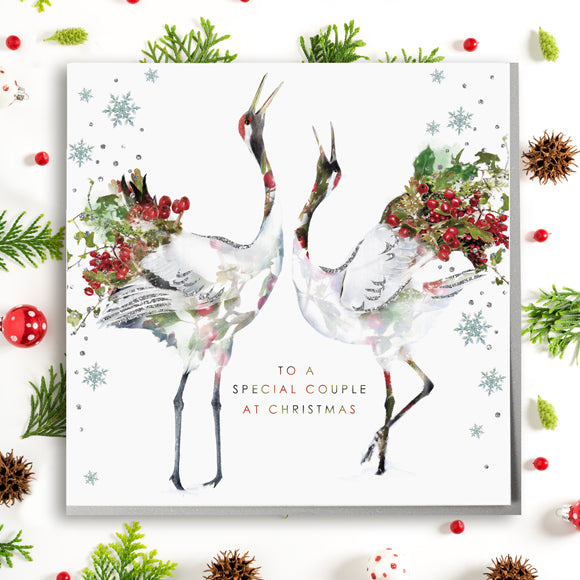 Cranes Special Couple Christmas Card - Lola Design Ltd