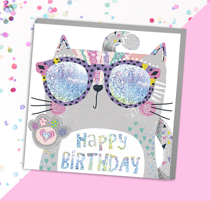 Cat Happy Birthday Card - Lola Design Ltd