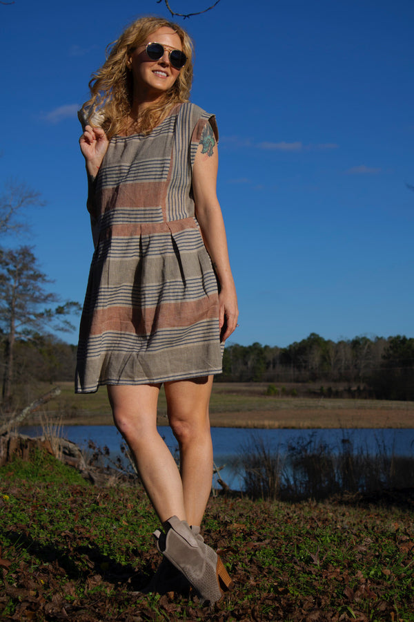 Babydoll Dress | Striped Linen