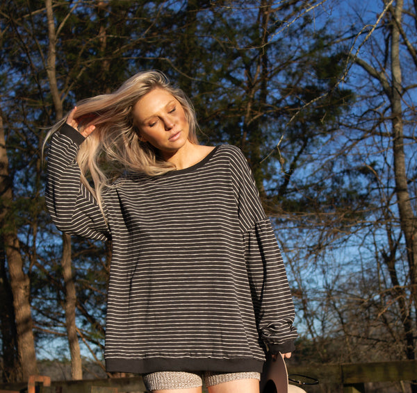 Navy Striped Long Sleeve Tee