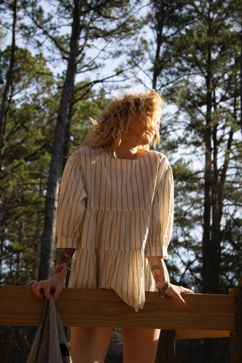 Tiered Tunic Top | Ivory Stripes