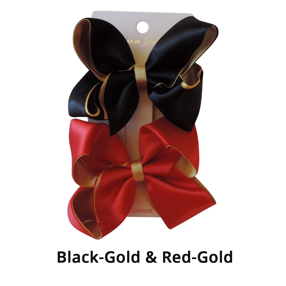 "3.6"" 2PC Black-Gold & Red-Gold Satin Hair Bow Set"