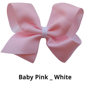 "4"" Baby Pink & White Double Grosgrain Ribbon Bow"