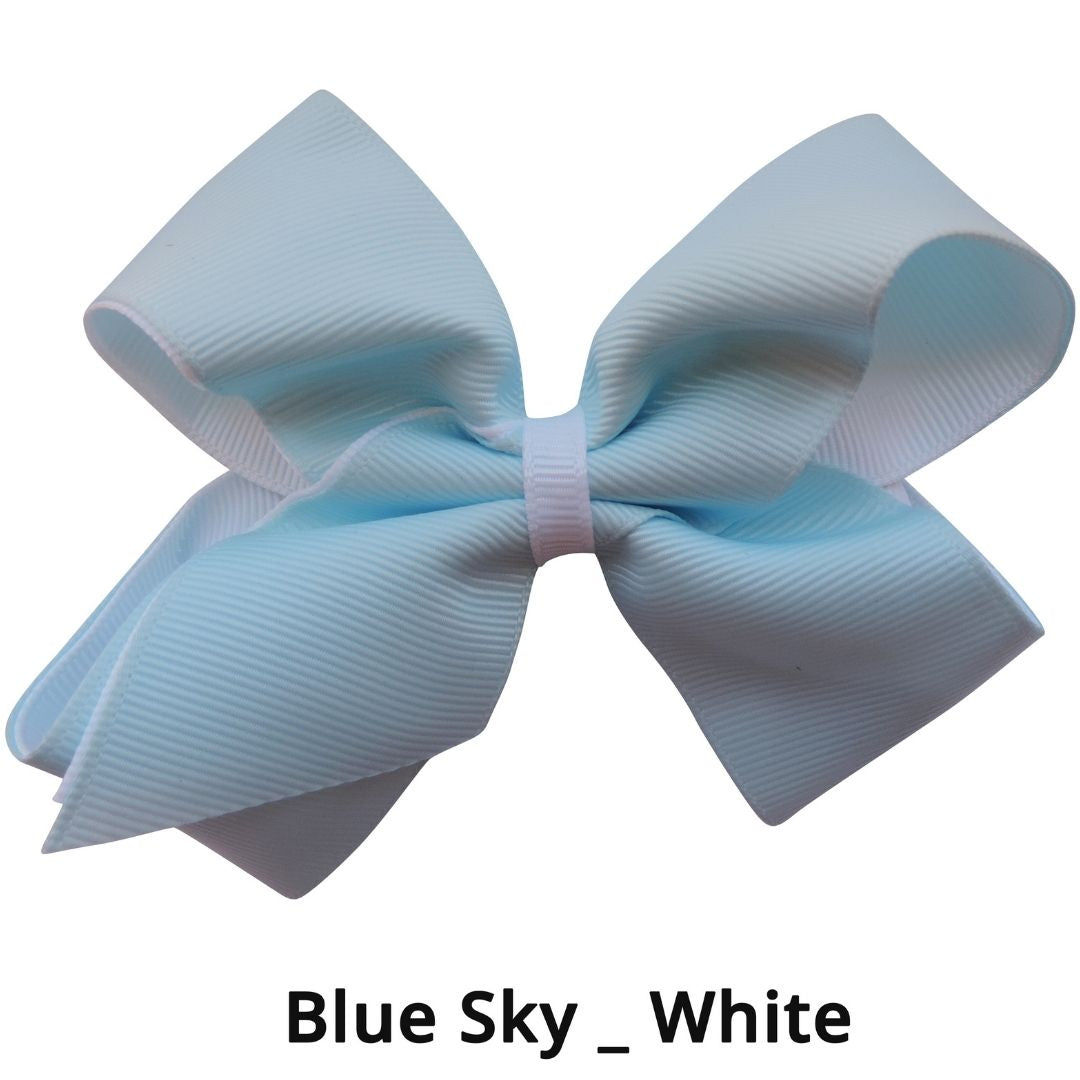 "4"" Light Blue & White Double Grosgrain Ribbon Bow"