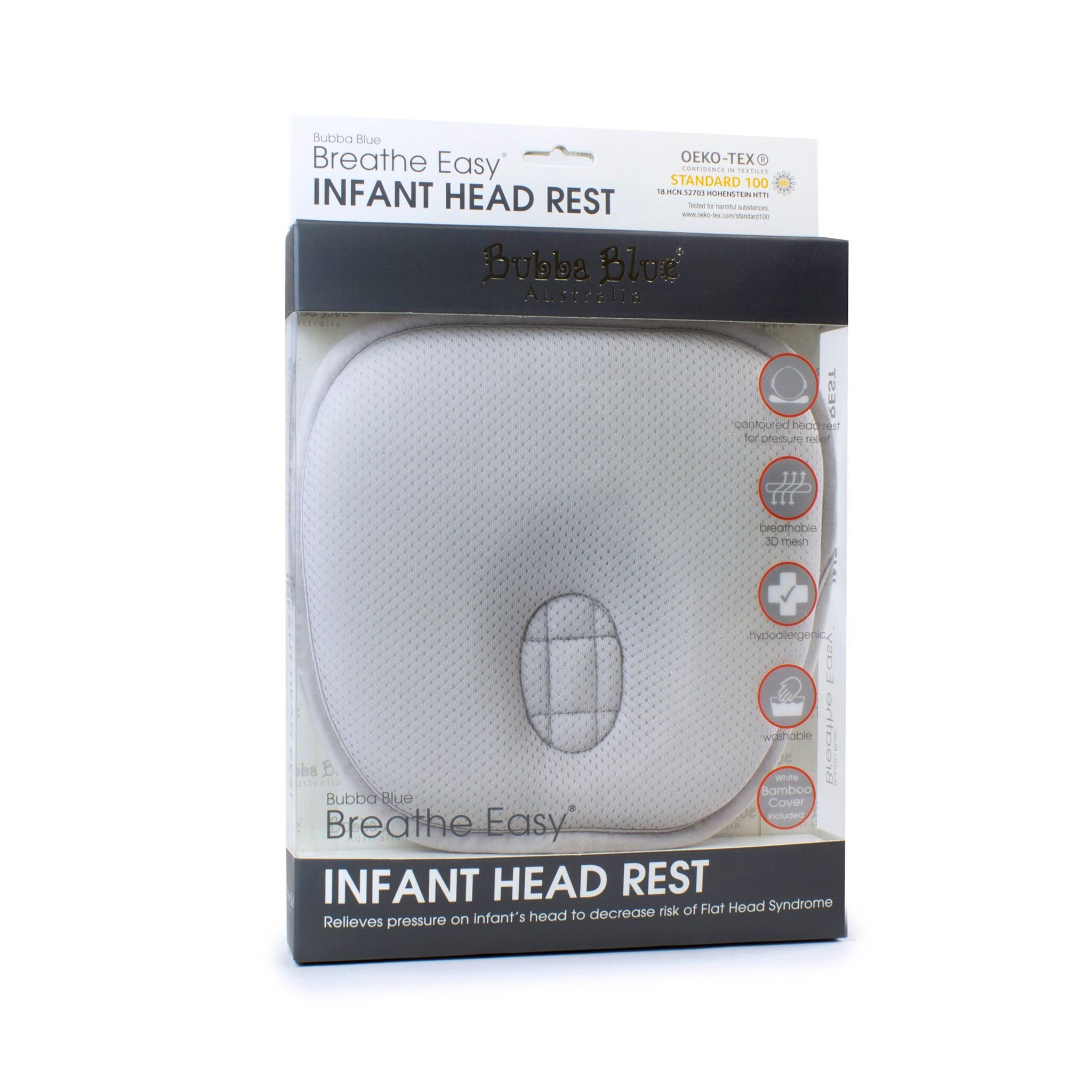 Breathe Easy® Infant Head Rest -Grey Safari Totz