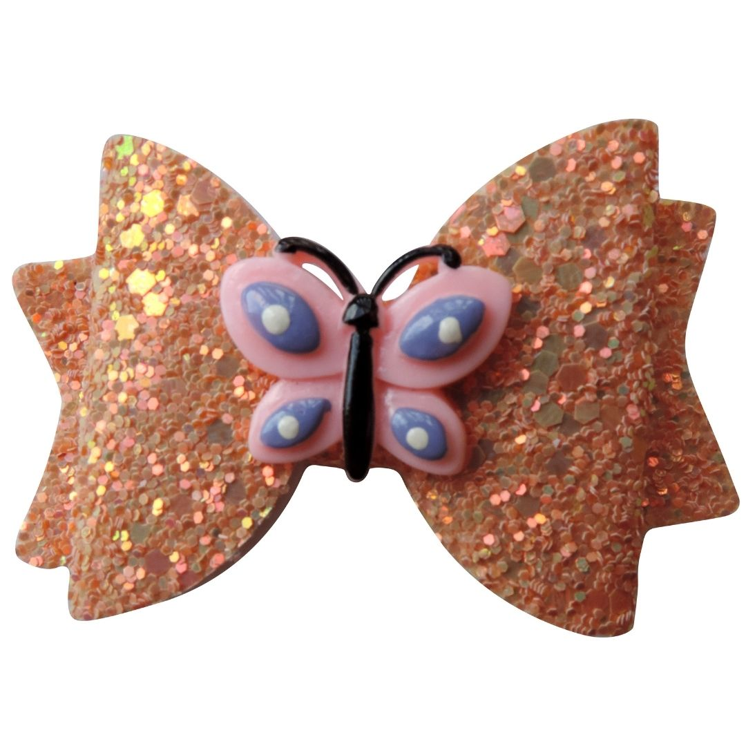 "3"" Orange Butterfly Glitter Bow"