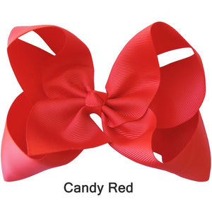 "6"" Candy Red Plain Grosgrain Ribbon Bow"
