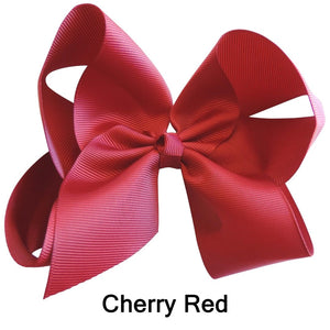 "6"" Deep Cherry Red Plain Grosgrain Ribbon Bow"