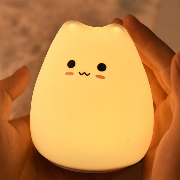 Child's Kitten LED Silicone Touch Night Light - Battery Operated Lamp Safari Totz