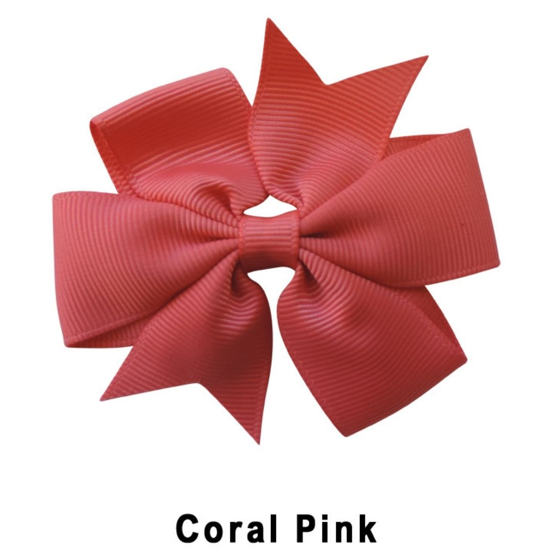 "3.1"" Coral Pink Plain Grosgrain Ribbon Bow"