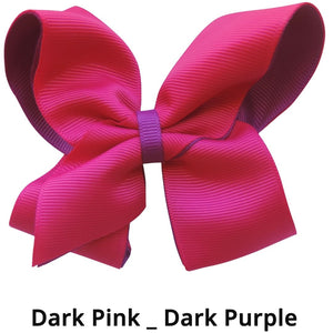 "4"" Dark Pink & Dark Purple Double Grosgrain Ribbon Bow"